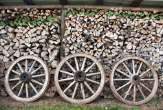 Wood wheels and wood piles Royalty Free Stock Photos