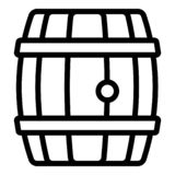 Wood whiskey barrel icon, outline style royalty free illustration