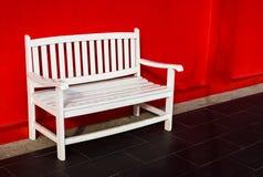 Wood white bench stock image