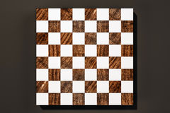 Wood and white chess board game on black background, 3d rendered Royalty Free Stock Photo