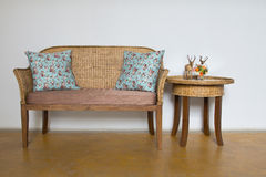 Wood and Wicker Furniture Royalty Free Stock Photography