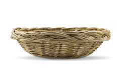 Wood wicker tray with white background Stock Photography