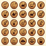 Wood WiFi icons. Mobile and wireless Buttons. Stock Image
