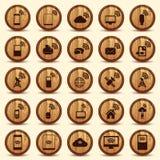 Wood WiFi symboler. Mobil- och radioknappar. Fotografering för Bildbyråer