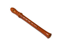 A wood-wind musical instrument or recorder Stock Image