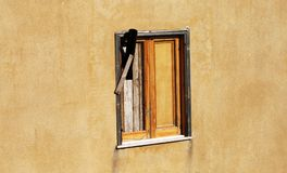 Wood window. Insulated wooden window in need of repair stock images