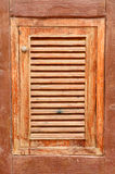 Wood window adjoin with cement wall Stock Photos