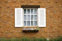 Wood window. With brick block royalty free stock image
