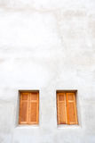 Wood window. On the cement wall royalty free stock photo