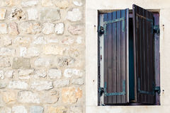 Wood window with closed shutters Stock Images