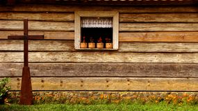 Wood Window and the cross Royalty Free Stock Photos