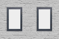 Wood window display frame on white concrete wall. Background Stock Images