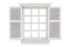Wood window frame isolated on white stock image