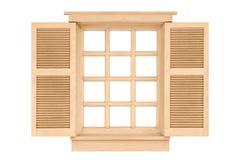 Wood window frame isolated on white Stock Photos