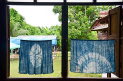 Wood window and indigo curtain reto thai style at house Stock Photos