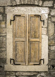 Wood Window. Old Wood Window on White Wall Royalty Free Stock Images