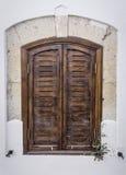 Wood Window. Old Wood Window on White Wall Royalty Free Stock Photo
