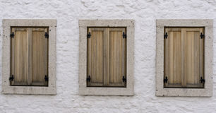 Wood Window. Old Wood Window on White Wall Royalty Free Stock Photography