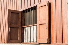 Wood window opened Stock Image