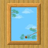 Wood window with pine branches Stock Photos