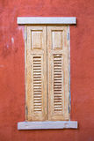 Wood window. On red wall stock photography
