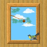 Wood window with titmouse Royalty Free Stock Images
