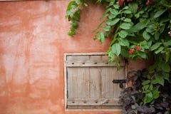 Wood window on wall Stock Image