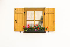 The wood window on the white wall Stock Photos