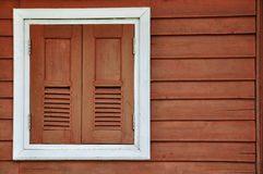 Wood windows with white frame Royalty Free Stock Image