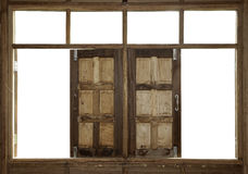 Wood windows. Wood window white frame open Stock Photography