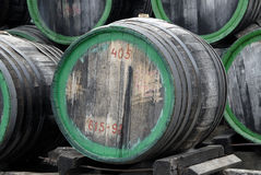 Wood wine barrels. Old madeira wood wine barrels stock image