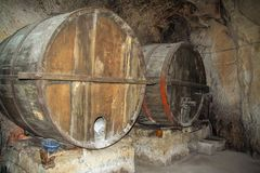 Wood wine barrique stock image