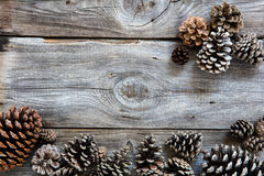 Wood and winter fir cones for natural holiday, flat lay Royalty Free Stock Photos