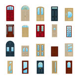 Wood or wooden facade exterior doors icons Royalty Free Stock Images
