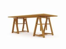 Wood workbench isolated on white Stock Photos