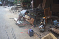 Wood worker at Downtown Siem Reap. Stock Image