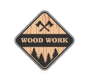 Wood working lodge carpenter factory vector logo design. Template royalty free illustration