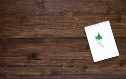 Wood working space with note and ivy leaf. Top view. Royalty Free Stock Photography