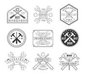 Wood Workshop And Emblems. Classic Style Vector Monochrome Graphic Design Logo Set With Text On Background Stock Images