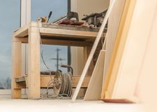 Wood Workshop Table stock image