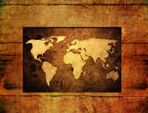Wood World map vintage artwork Royalty Free Stock Photography