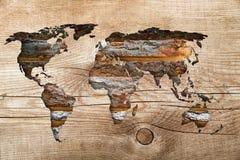 Wood world map Stock Image