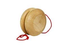 Wood Yooo. Old-fashioned wood yoyo  on white Stock Photos