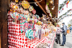 Wooda stall with candies Stock Images