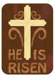 Woodart intarsja z jest wzrastającym inskrypcją Bożenarodzeniowy Easter temat z prostym krzyżem w minimalistycznym drewnianym pro Zdjęcia Stock