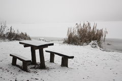 Woodbench op lakeshore stock fotografie
