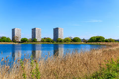 Woodberry Wetland in London. Newly-opened Woodberry wetlands nature reserve at Woodberry Down in London on a sunny day stock photography