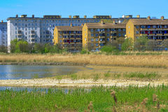Woodberry Wetland in London. Newly-opened Woodberry wetlands nature reserve at Woodberry Down in London on a sunny day stock photo