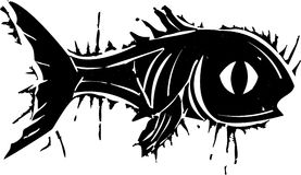 Woodblock鱼 库存照片