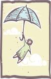 woodblock зонтика летания бесплатная иллюстрация